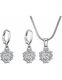 Stylish American Diamond White Gold Plated Necklace With Hoop Earrings For Women Girls By FFIME