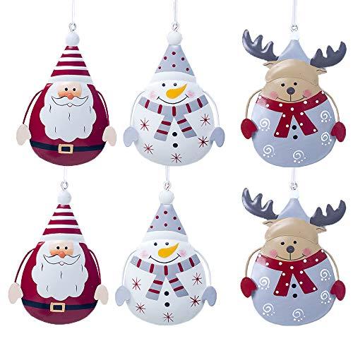 Catrne Weihnachtsanhänger Weihnachtsdeko 6pcs Metall Weihnachtsbaum Dekoration Geistesweihnachtsbaum Verzierungs Schneemann Ren Sankt