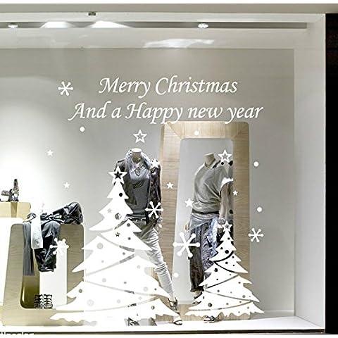 Yanqiao due alberi di Natale Adesivo da parete per soggiorno personalità decorazione finestra decalcomania da parete in vinile removibile, casa decorare e dimensioni 100,1x 113cm Rosso Bianco