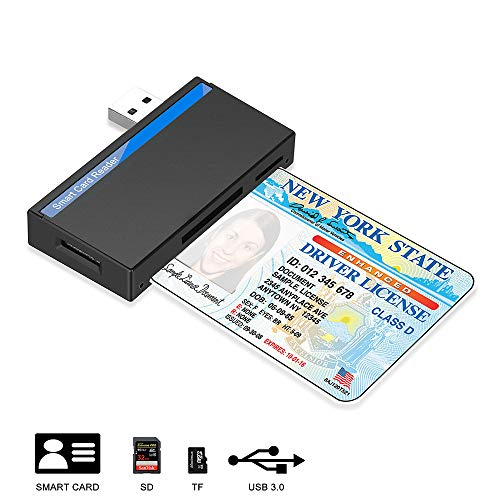 USB Chipkartenleser, Kartenleser für Personalausweis, kompatibel Windows 10/8/7 und Mac OS X - Build in SDHC/SDXC/SD Kartenleser, Micro SD Kartenleser und Lesegerät personalausweis