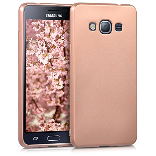 kwmobile Samsung Galaxy J3 (2016) DUOS Hülle - Handyhülle für Samsung Galaxy J3 (2016) DUOS - Handy Case in Metallic Rosegold