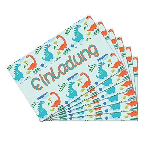 inladungskarten mit Dino Motiven für Kindergeburtstag Jungs Mädchen Dinosaurier Party Einladungen Geburtstagseinladungen mit beschreibbarer Rückseite DIN A6 ()