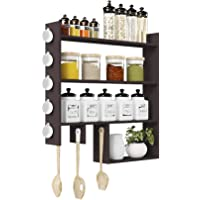 Furnifry Wooden Wall Mounted Shelves for Kitchen/Kitchen Storage Shelf with Hooks/Wall Shelf/Kitchen Shelf for Home…