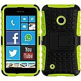 kwmobile Hybrid Outdoor Hülle für Nokia Lumia 530 mit Ständer - Dual TPU Silikon Hard Case Handy Hard Cover in Grün Schwarz