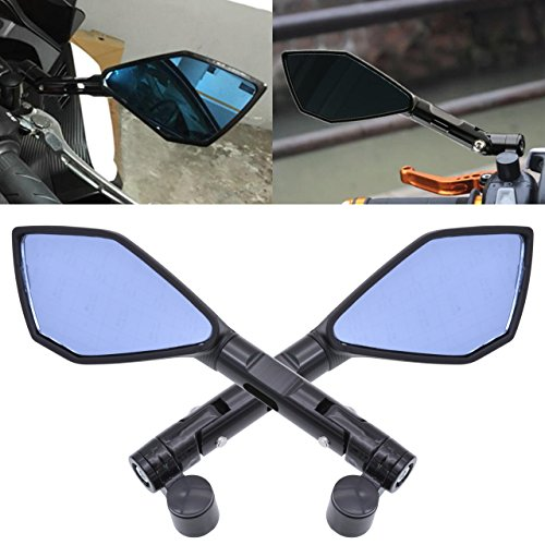 Tuincyn Espejos retrovisores laterales de 8 mm 10 mm para motocicleta, pernos roscados para motocicleta con lentes azules irregulares, color negro (1 par).
