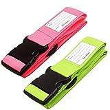 ✅ Cinghia Valigia. Cinghie per valigie con cinghie per bagagli pesanti - Cintura Valigia personalizzata per identificare la valigia - Accessori Viaggio Utili di Qualità per le Valigie Rosa Verde