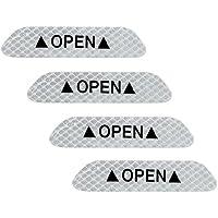 Holdream - Pegatinas Reflectantes para Puerta de Coche, 4 Unidades, Color Blanco