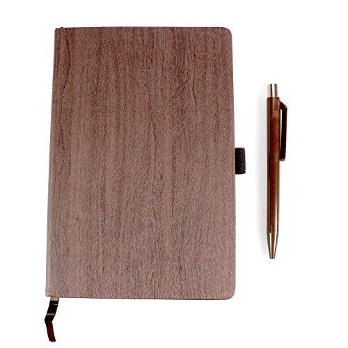 Styletec - Notizbuch Hardcover im Wood-Look (A5, liniert, 80 g/qm, 160 Seiten) + inkl. Kugelschreiber (braun)