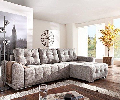 Couch Tania Hellgrau 295x170 cm mit Schlaffunktion Ecksofa
