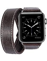 Correa Apple Watch 42mm Piel, MroTech iWatch Serie 3 /2 /1 Pulsera de Repuesto Correa de Cuero Genuino de Reloj Accesorios Banda para Apple Watch Sport Editon Nike+ todas las versiones (Dual Loop, Café, 42 mm)