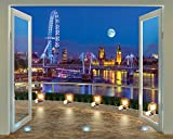 Walltastic 8 x 10 ft The View Collection London Skyline Wallpaper Mural, Multi-Colour