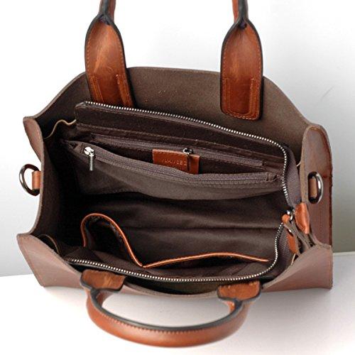 Hermiona Vintage Ladies' New Crazy Horse HANDMADE Leather Tote Bag Shoulder Bag Top Handle Handbags Brown