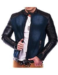 Veste pour homme jeans manche simili cuir