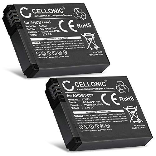 CELLONIC 2X Batterie Premium Compatible avec GoPro HD Hero 2, GoPro HD Hero, GoPro Hero (1100mAh) AHDBT-002 Batterie de Recharge, Accu Remplacement