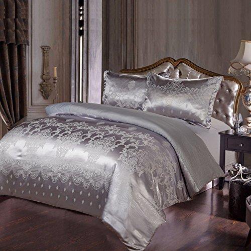 Oxford Homeware Luxus-Jacquard-Bettwäsche-Set, Bettbezug + 2Kissenbezüge + 1Bettlaken, Satin-Bettwäsche-Set, grau, King Size (Luxus-king-kissenbezug)