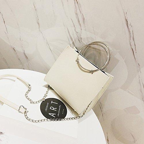 Weibliche metall Ring Frosted handtasche kleine quadratische tasche messenger bag Weiße Trompete