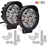 Andride 9 LED Round Fog Light 15W Lamp for Motorcycle Car ATV Jeep 4x4 Tractor Off Road Waterproof Dustproof Shockproof 3 inches Lamp with Mounting (Pack of 2)