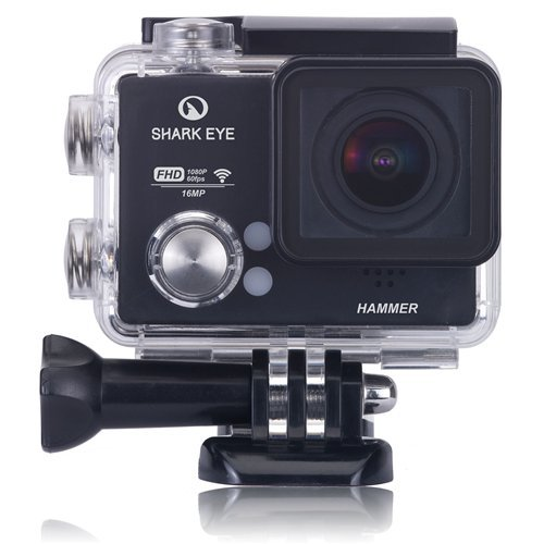 "SHARK EYE HAMMER-1 Cámara deportiva 1080p60fps Action Camera sumergible WIFI 16MP con 3 baterías, Pantalla de 1,5"" y 21 accesorios"