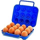 Demarkt Cuidado de huevo/Caja de almacenamiento de los huevos de Plástico para Acampar Aire Libre(azul)