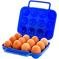 Laat cajas de almacenamiento de huevos portátil porte-oeufs plástico 12-trou Portatif, plástico, azul, 21 x 20,5 x 7cm