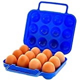 Leisial Portable 12 slot Egg Holder Carry pieghevole in plastica antiurto Storage box caso contenitore per barbecue escursioni all' aperto campeggio picnic (blu)