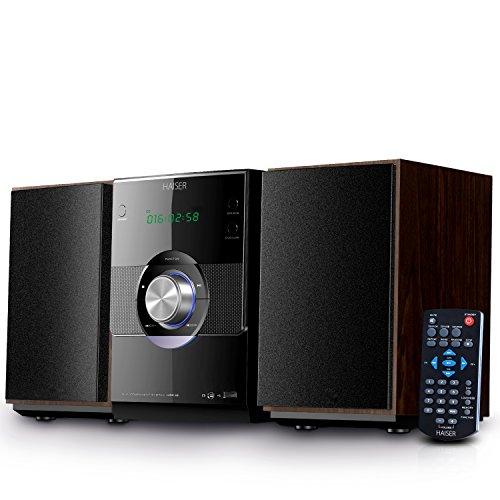 HAISER HSR 116 | 20 Watt RMS mit • CD-Player • Bluetooth • USB • Boxen • FM Radio | Stereoanlage Kompaktanlage Musikanlage HiFi Anlagen Mini Anlage Microanlage Mini Stereoanlage Soundanlage