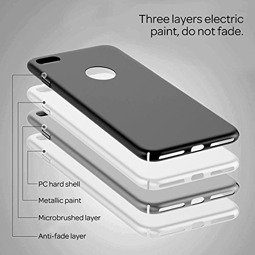 XFAY HX-412 iPhone 7plus case/8plus Hülle / Schlanke Handyhülle / Schutzhülle,Anti-Kratzer,anti-Fingerabdruck, Stoßfest, Metall,Ausgezeichnete Haptik für iPhone 7plus/8plus(Schwarz) Schwarz
