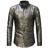 MRULIC Herren Gestreiftes Herrenhemd Langarm Button-Down T-Shirt Top Oberteile(Gold,EU-48/CN-XL)