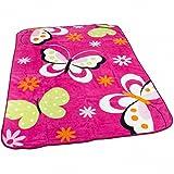 Decke Kinderdecken Schmetterlinge Pink Fuchsia Butterfly Bunt Kuscheldecke Spieldecke, Grösse:155x215 cm