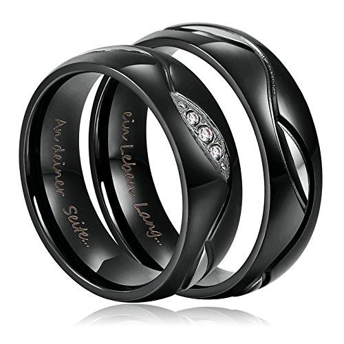 6mm Ring für Damen Herren Verliebte Paar Ring Schwarz Edelstahl mit Gravur Kostenlose Damen Gr.52(16.6) & Herren 67(21.3) (Paar Ringe Aus Edelstahl)