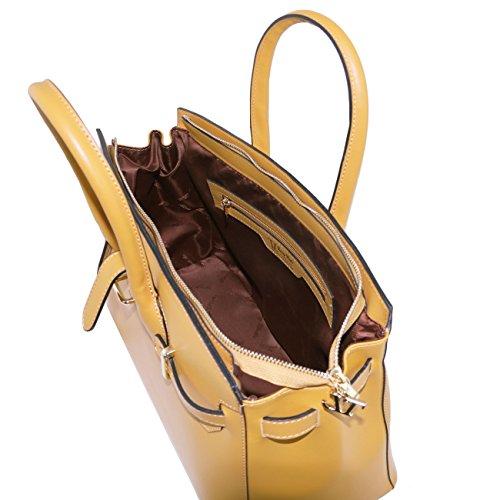 Tuscany Leather Elettra - Sac à main pour femme en cuir Ruga avec finitions couleur or Jaune Sacs à main en cuir Vieux Rose