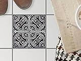 creatisto Deko-Fußboden-Fliesen, Küche Fussboden-Fliesen | Fliesenaufkleber Folie Sticker Küche Bad Balkon Küchendeko | 20x20 cm Muster Ornament Black n White - 1 Stück