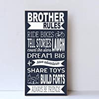 Enid18Bru Brother Rules Wooden Sign Boy Room Decor Playroom Wall Sign Brother Art Wall For Brothers Nursery Decor Wall Sign Brother Rules 9x18 from Enid18Bru
