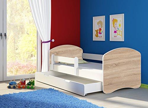 *Jugendbett Kinderbett mit einer Schublade mit Rausfallschutz und Matratze Weiß ACMA II 140 160 180 (180×80 cm + Schublade, Weiß – Eiche Sonoma)*