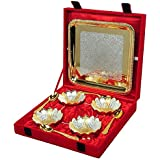 Saudeep India Trading Corporation Silver And Gold Plated Floral Shaped Brass Bowl 9 Pcs Set Diwali Dry Fruit Deepawali Gift Platter Kit Decorative Sets Kitchen Dinning Plates Spoon Gift Item Festival