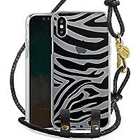 Apple iPhone X Carry Case Hülle zum Umhängen Handyhülle mit Kette Zebra Muster ohne Hintergrund Transparent Tiere