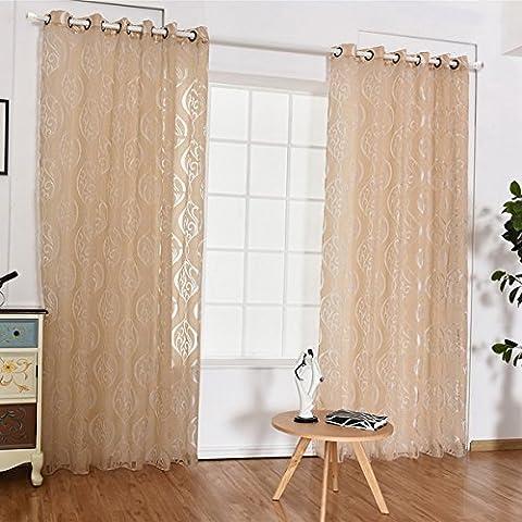 Hoomall Rideau Voilage à Oeillets Intérieur de Fenêtre Décoration de la Chambre Dessin Floral Vin Rouge H 250x L 100cm 1 PC