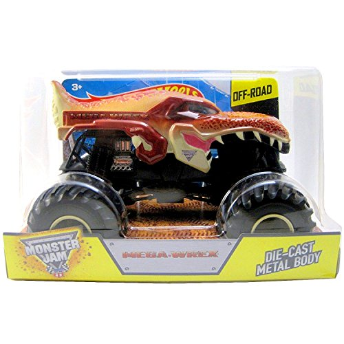 Hot Wheels Year 2015 Monster Jam 1:24 Scale Die Cast Official Monster Truck Series : MEGA-WREX (CGD63) with Monster Tires by Monster Jam