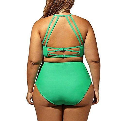 Badeanzug Damen Split Badeanzug Mesh Stitching Hollow XL Schwimmen ÜBung Split Badeanzug Green