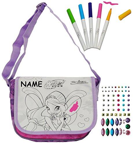 Bastelset - zum Bemalen - für Umhängetasche / Schultertasche - Winx Club - Schmetterlinge - abwischbar groß + mit Glitzersteinen - Kindertasche Tasche Stoff - für Mädchen Tragetasche / Überschlagtasch