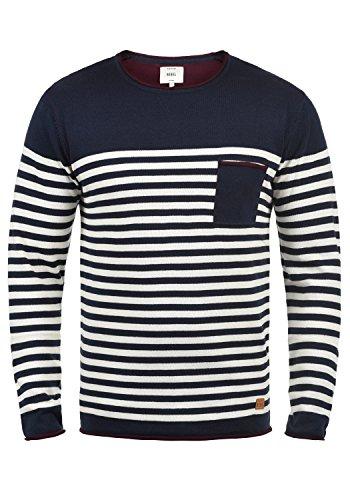 Redefined Rebel Mannix Herren Strickpullover Feinstrick Pullover Mit Rundhals-Ausschnitt Aus 100% Baumwolle, Größe:XL, Farbe:Navy