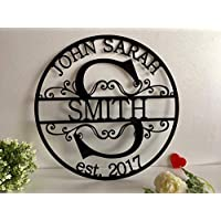 Personalised Family Last Name Sign Initial Split Letter Wreath Wedding Gift Custom First Names Est Year Established Sign Monogram Door Hanger Wall Decor Housewarming Gift for Couple Acrylic Wood Metal