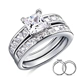 925 Sterling Silver Ring, Women's Wedding Bands Princess Cut Cubic Zirconia Silver Epinki