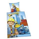 Herding 4462201050412 Bettwäsche Bob der Baumeister, Kopfkissenbezug: 80 x 80 cm + Bettbezug: 135 x 200 cm, 100 % Baumwolle, Linon