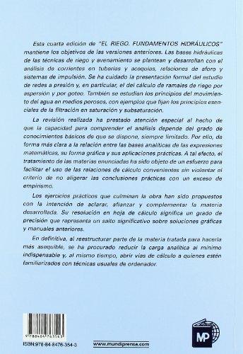 El riego. Fundamentos hidráulicos por ALBERTO LOSADA VILLASANTE
