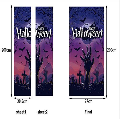 Dekoration Lila Schwarz Nacht Fledermäuse Tür Aufkleber Scary Aufkleber Schlafzimmer 77X200Cm ()