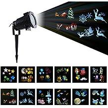 BLOOMWIN LED Projecteur Lampe, LED Décorations Noël Lumières 12 Motifs 4*1W Extérieur/Intérieur Lampe d'ambiance De Jardin Pour Noël Anniversaire Jardin Mariage Halloween