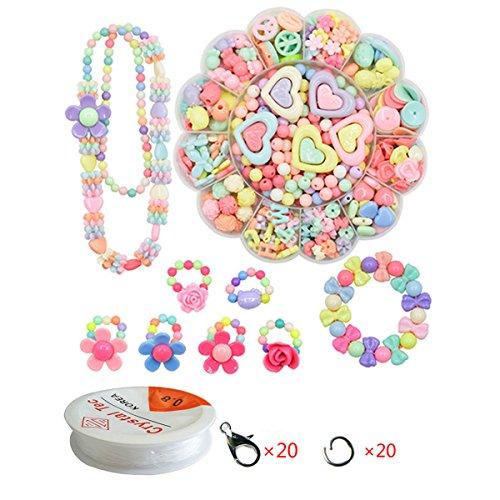 WCOCOW Schmuckzubehör Kinder DIY Gemischte Multicolor Acryl Perlen Set Starter Set Basteln DIY Zubehör (Flower Shape)