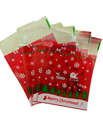 Westeng 100pcs autoadesivo candy bag cute merry christmas sacchi di plastica sigillata biscotti snack pacchetto sacchetto regalo sacchetti dell' imballaggio
