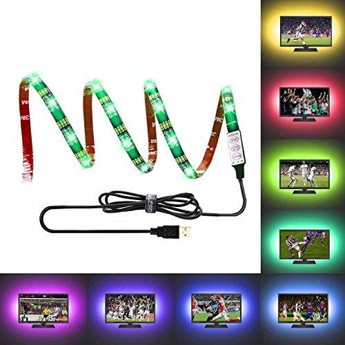 LEBRIGHT USB LED TV Backlight tira, 100cm (39inch) 5V USB Powered Bias iluminación para HDTV, impermeable RGB LED tira de luz para HDTV y monitor de PC
